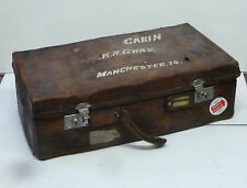 Vintage Battered Leather Military Captains Cabin Suitcase