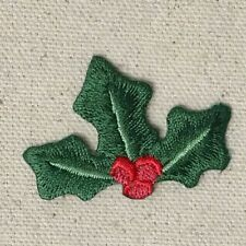 "1-3/4"" Holly - Red Berries - Christmas - Iron on Applique/Embroidered Patch"