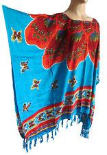 femmes bleu motif fleur caftan PONCHO TUNIQUE FRANGE plage grand taille NEUF