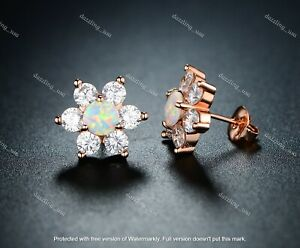 2.20Ct Round Cut Fire Opals Push Back Flower Stud Earrings 14K Rose Gold Finish