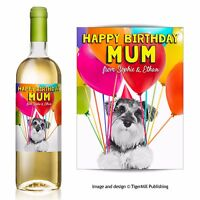 PERSONALISED miniature Schnauzer dog Birthday wine bottle label gift