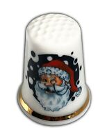 Personalised Retro Santa Christmas Bone China Thimble, Christmas Stocking Filler
