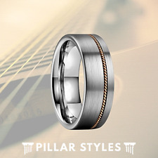 Guitar String Ring Silver Tungsten Ring for Men - Guitar Ring Mens Wedding Band