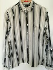 MENS PAUL SMITH STRIPED SHIRT SIZE XL MADE IN ITALY GREY & WHITE
