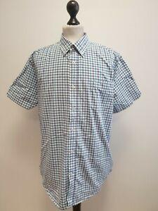 MENS BEN SHERMAN BLUE MIX CHECK SHORT SLEEVED CASUAL REG SHIRT UK XL EU 54-56