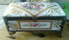 Early French porcelain gold dore Victorian jewelery casket box