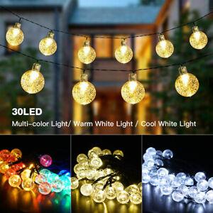 30LED String Lights Bulb Globe Fairy Solar Ball 20ft Halloween Waterproof Decor