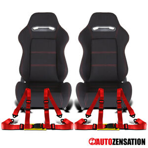 Reclinable Black Cloth Red Stitch Sport Racing Seats+Red 4-Point Belts Harnesses