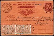 Cartolina vaglia per frazioni di Lira + affrancatura aggiuntiva cent.80