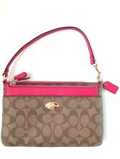 New Coach Signature Pop Pouch Wristlet F52619  - Khaki Pink Ruby PVC/Leather NWT
