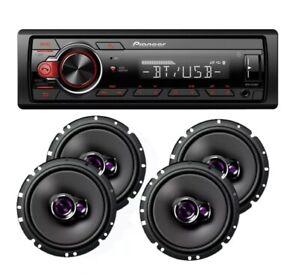 """Pioneer Car Stereo Radio Bluetooth Mp3 + 2 Pair Pioneer 6 3/4"""" Car 3way Speakers"""