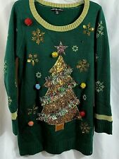 Christmas Tree Ugly Sweater Green United States Sweaters Size XL