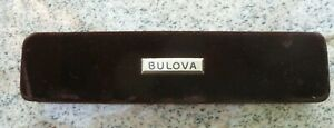 "Vintage Bulova Brown Gold Trim Velvet Watch Presentation Box Case EMPTY 9"""