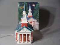 "1994 O'Well Porcelain Lighted ""Red Church"" Building For Your Christmas Village"