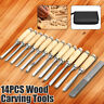 14 Piece Wood Carving Hand Chisel Tools Set Professional Woodworking Rolling Kit