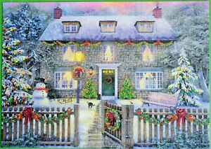 CHRISTMAS COTTAGE FALCON DELUXE 1000 PIECE PUZZLE COMPLETE MINT CONDITION L@@K!