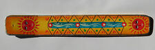 Long Wood Hand Painted Sun God Indian Incense Holder - Red Green Yellow