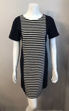 d224a07e417 Stunning J. Crew Navy Blue Beige Striped Cotton Shift Dress Size 10