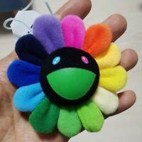 Flower Takashi Murakami Kiki Kaikai Brooch Black face Rainbow Pin Badge Plush