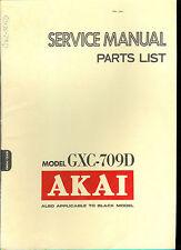 Orig Factory Akai GXC 709D Stereo Cassette Tape Deck Service Manual Parts List