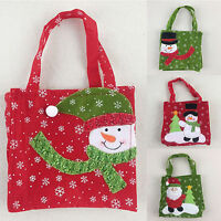 Christmas Candy Bag Santa Claus Snowman Xmas Ornaments Decor Punch Handbag