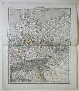 German Empire Belle Epoque Prussia Bavaria 1874 Flemming detailed large map