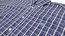 LACOSTE Men's Short Sleeve Shirt Crocodile Logo Blue Plaid Size Small 38