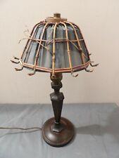 Arts & Crafts Antique Lamp Unusual Wicker Shade 17.5