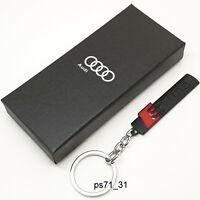Audi Black Sline S Line Metal Keychain Car Key Ring Chain Auto Keyring Pendant