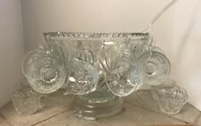 Lg Saw Tooth edge Punch Bowl 12 Cups 12 Cup Hooks Glass Base And A Plastic Ladle