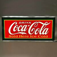 New SLIM LINE vintage style Coca Cola LIGHT UP advertising Coke sign Fast Ship