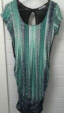 Juliester Size M Green Leopard Bodycon Gathered Dress EUC Party Cocktail Casual
