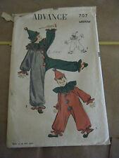 Vintage 1940's Advance 707 Child Clown Costume Pattern-Size M (6-8) Chest 24-26