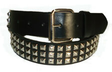 DESIGNER PUNK SILVER STUDDED BLACK LEATHER BELT XL 40