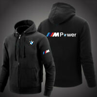 BMW Solid Zip Up Hoodie Classic Winter Hooded Sweatshirt Jacket Coat Top Tops