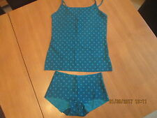 Camisole vest & NO VPL short style knickers Turquoise with polka dots size 10