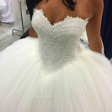Fashion White/Ivory Sweetheart Wedding Dress Ball gown Tulle Bridal Gown Custom