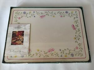 New Vtg Retro Cloverleaf Summer Chintz Johnson Brothers Place Mats Dinner Set
