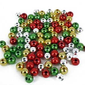 4mm CHRISTMAS RED GREEN GOLD SILVER PEARLS 160 BEADS CRAFT PB2