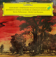 "SCHUBERT SYMPHONY NO. 8 UNFINISHED BEETHOVEN FIDELIO LAL KARAJAN 12"" LP c747"