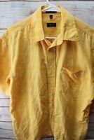 Izod Medium Yellow White Cotton Short Sleeve Button Men's Shirt