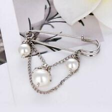 Scarf Suit Collar Safety Pin Jewelry Women Lady Silver Pearl Brooch Pins Badge