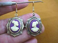 CAE1-40) RARE African American LADY ivory + purple CAMEO dangle Earrings JEWELRY
