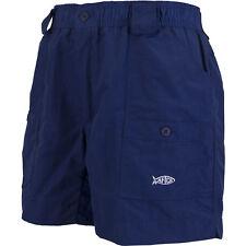 Men AFTCO Original Fishing Shorts Mo1 Navy 7 Pockets Elastic Waist Belt Loops 38