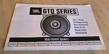 JBL GTO serie altoparlanti auto GT0325e GT0425e GT0525e + manuale di istruzioni LIBRO