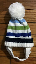 The Childrens Place Boys Hat - Blue, Green, White Stripes - Pompom - 3-6 Months