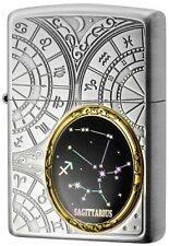 New Zippo Lighter 12 Constellation Sagittarius Silver Metal Oil Lighter
