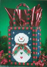 SMILIN SNOWMAN TOTE BAG CHRISTMAS PLASTIC CANVAS PATTERN INSTRUCTIONS