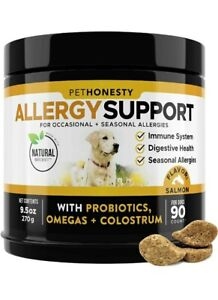 PetHonesty Allergy Support Probiotics Omegas & Colostrum All-Natural Anti-Itch