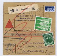 Bizone/Bauten, 97IIeg,MiF 128, NN-Paketkarte Bensheim, 30.10.52